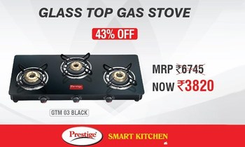 Get a Prestige Marvel Glass Top Gas Tables GTM 03L for Rs.3820